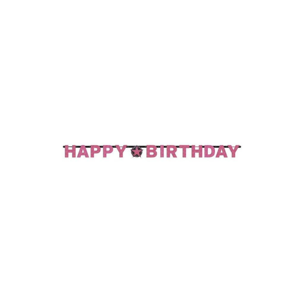 Banner Happy Birthday růžový holografický 213 cm