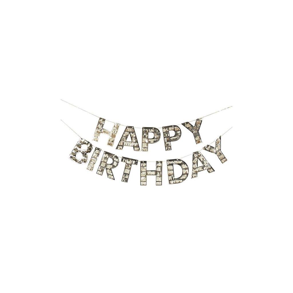 Girlanda fóliová Happy Birthday zlatá Mix it Up