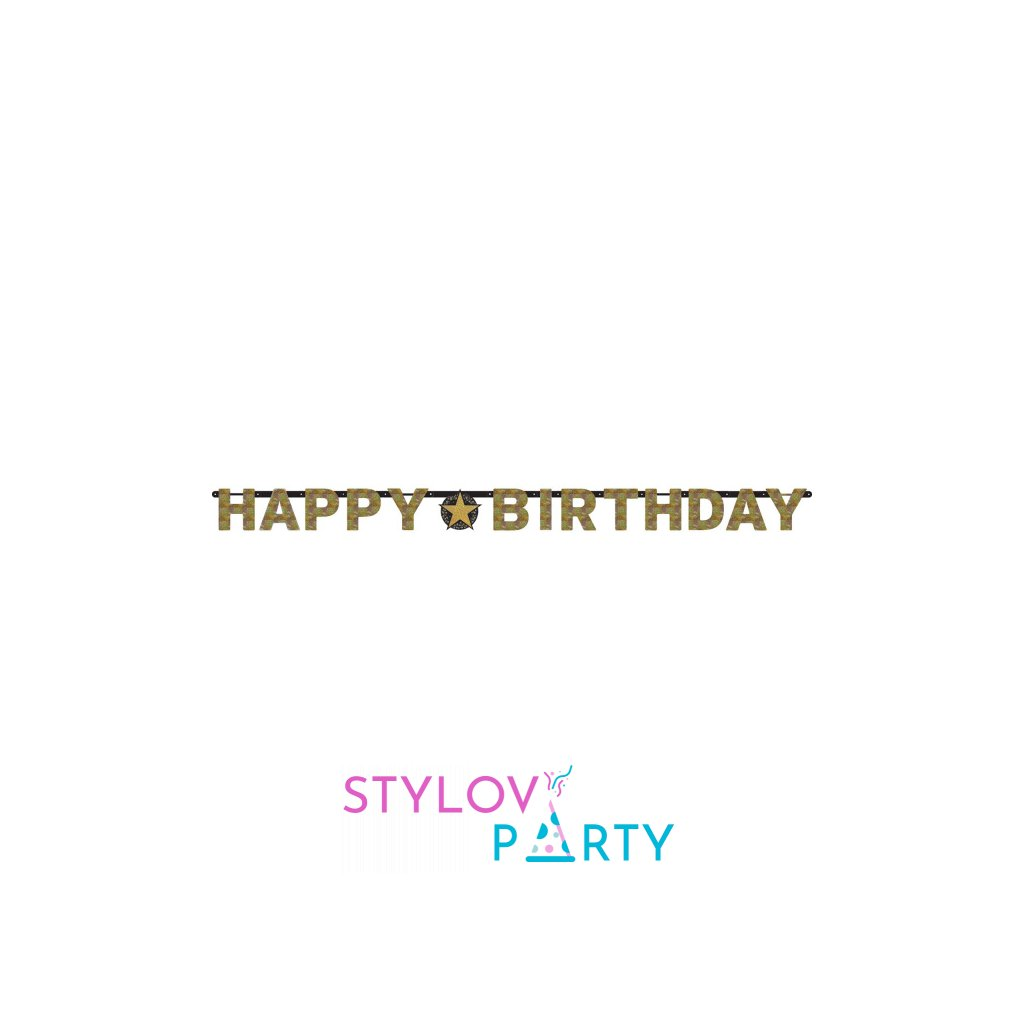 Banner Happy Birthday Sparkling gold 213cm