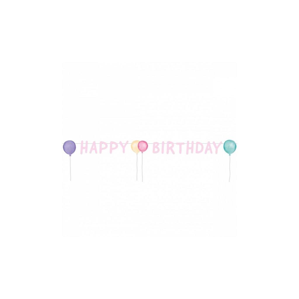 Banner Happy Birthday pastelové balonky 1,5m