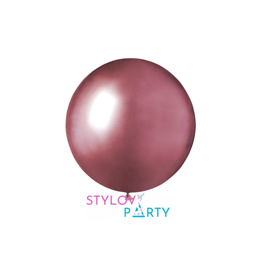 Balonek latexový chromový růžový 48cm 1ks