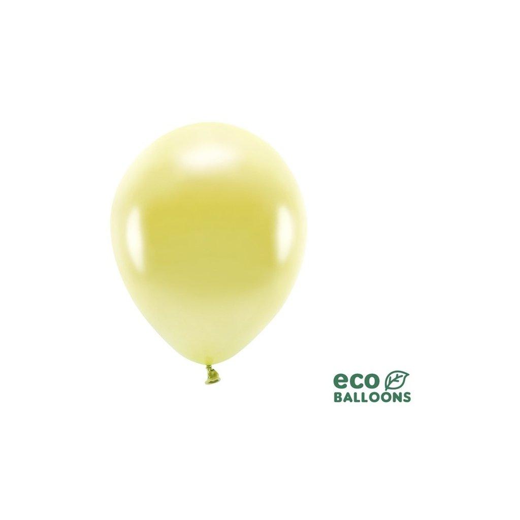 ECO balonky latexové metalické sv. žluté 26cm 100ks