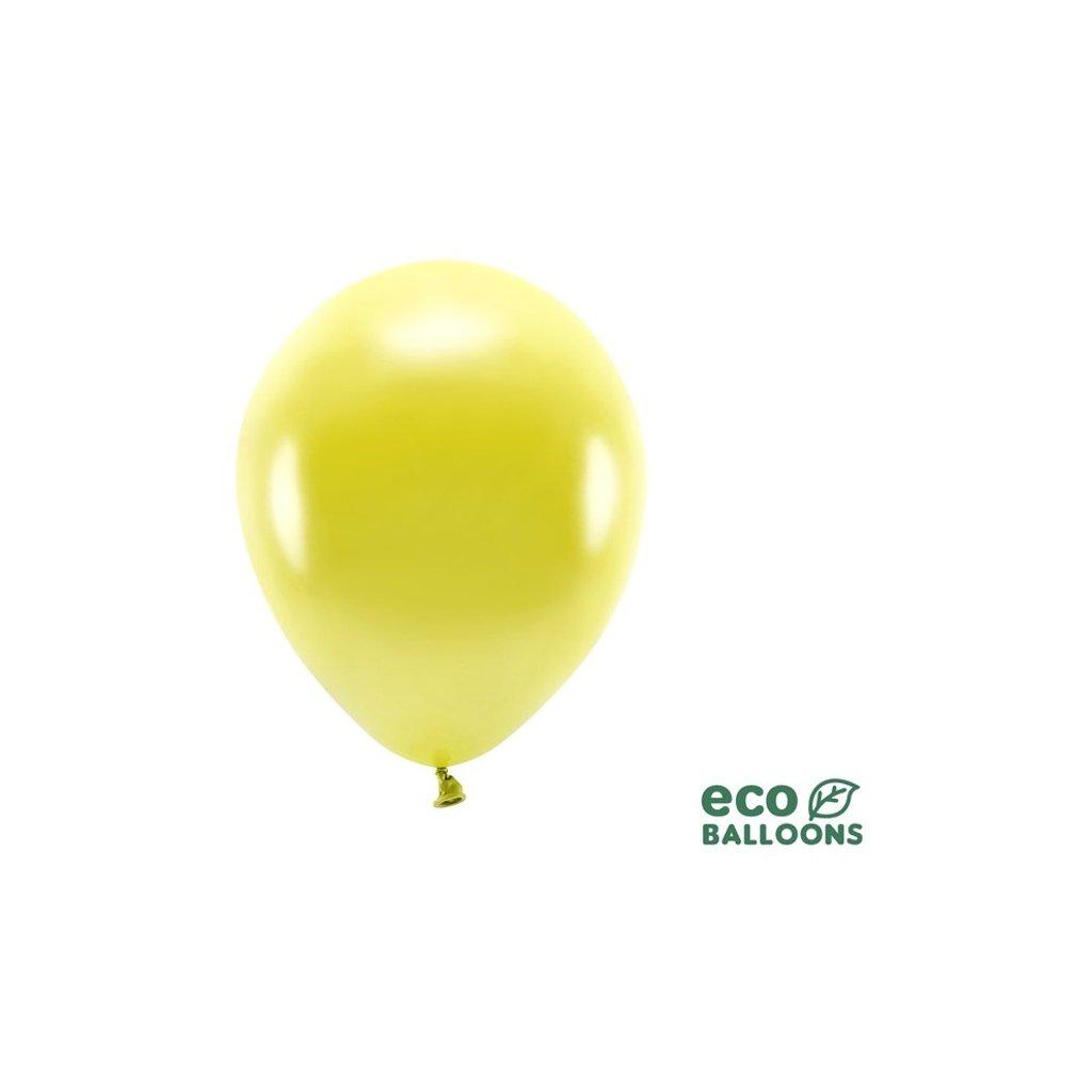 ECO balonky latexové metalické žluté 26cm 100ks