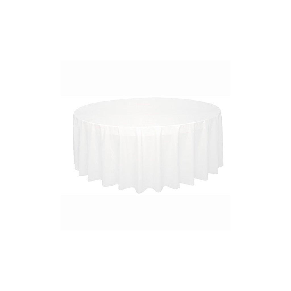 Ubrus plastový bílý pro kulatý stůl 210cm