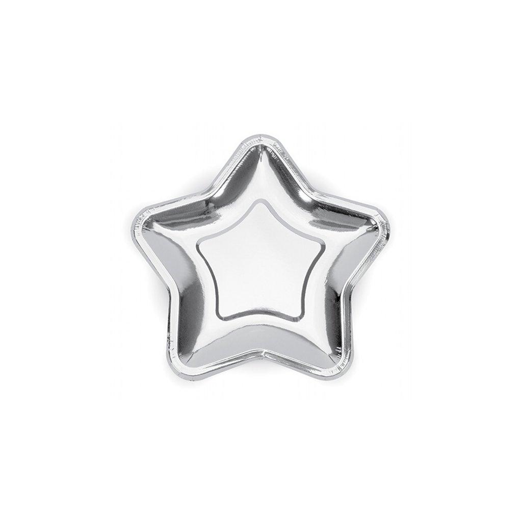 Talířky Hvězda stříbrná 18cm 6ks