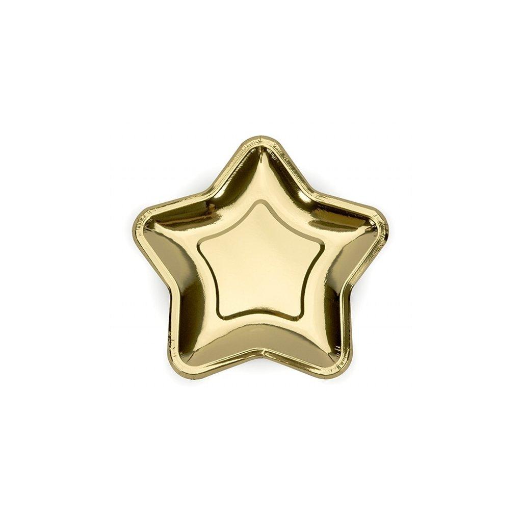 Talířky Hvězda zlatá 18cm 6ks