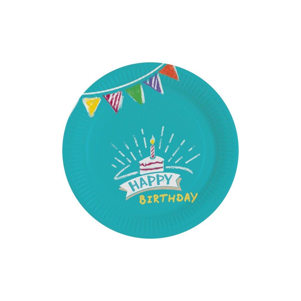 Talířky Happy Birthday 18cm 8ks