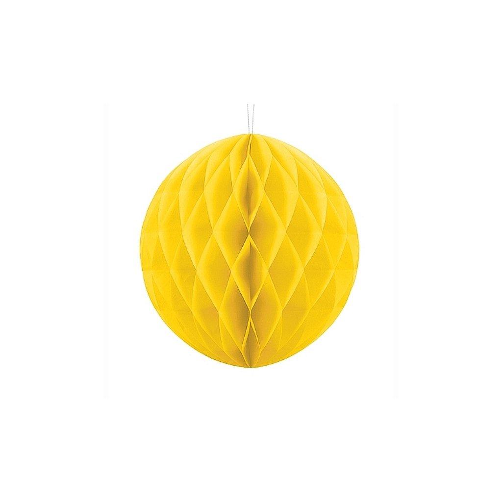 """Koule dekorační """"Honecomb"""" žlutá vel. 20cm"""