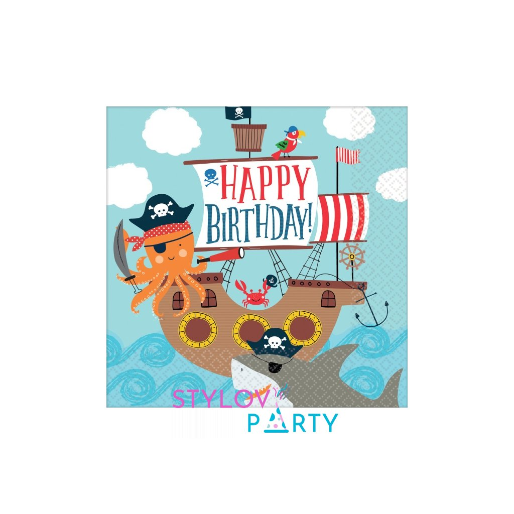 Ubrousky Ahoy Happy Birthday 33x33cm 16ks