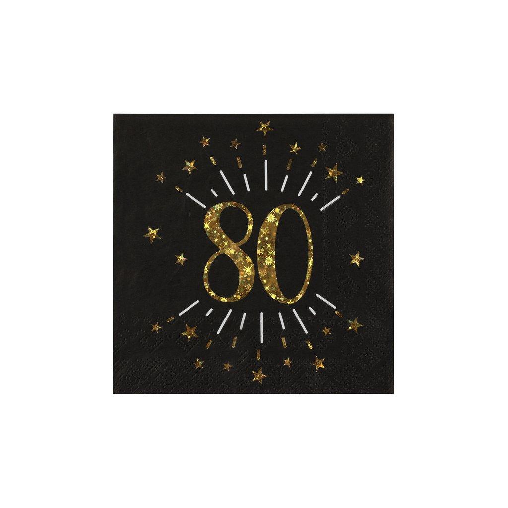 Ubrousky černé 80. narozeniny 16,5x16,5cm 10ks