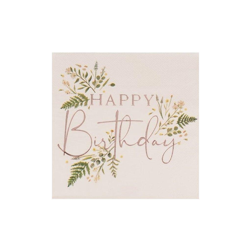 Ubrousky květinové Happy Birthday 16,5x165cm 16ks