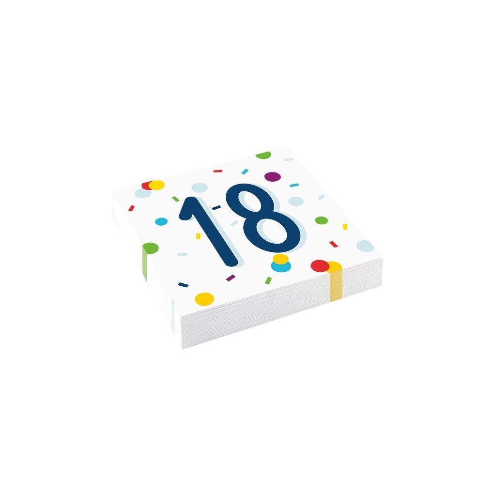 Ubrousky narozeninové 18 barevné konfety 33x33cm 20ks