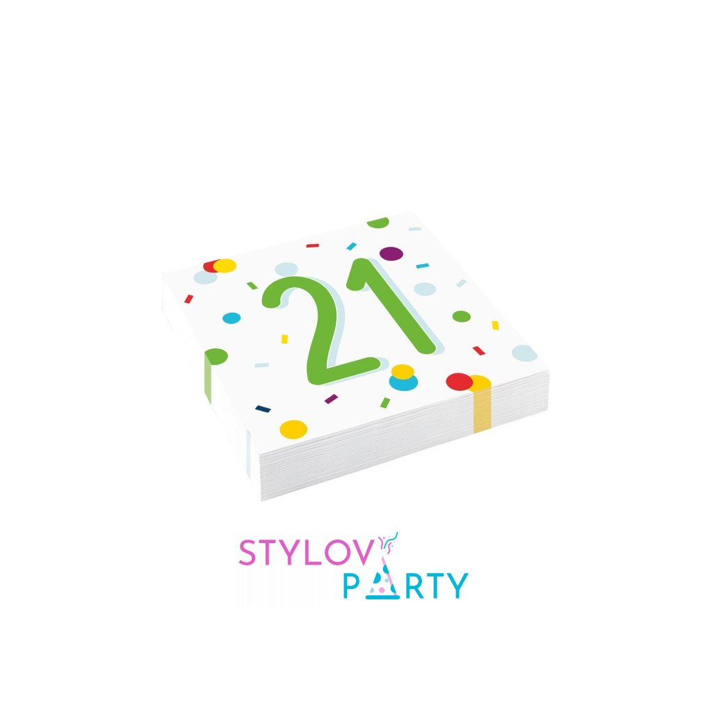 Ubrousky narozeninové 21 barevné konfety 33x33cm 20ks