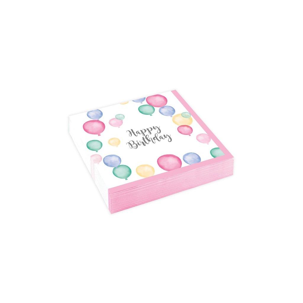 Ubrousky narozeninové s pastelovými balonky 20ks