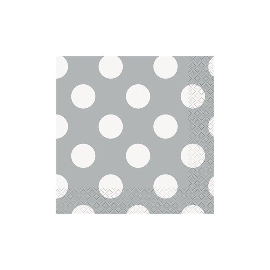 Ubrousky papírové stříbrné s puntíky 33x33cm 16ks