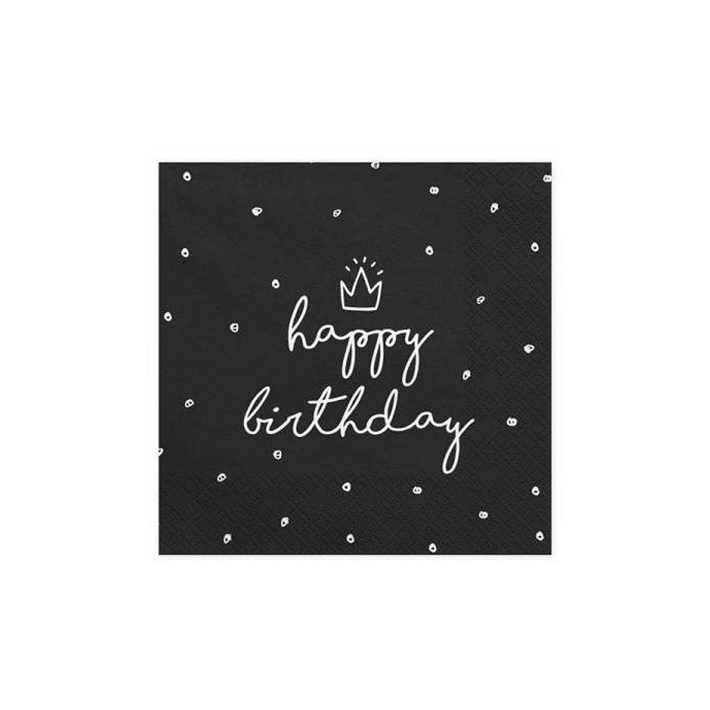 Ubrousky černé Happy Birthday 33x33cm 20ks