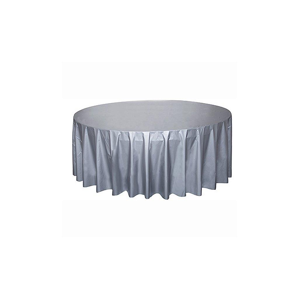 Ubrus plastový stříbrný pro kulatý stůl 210cm