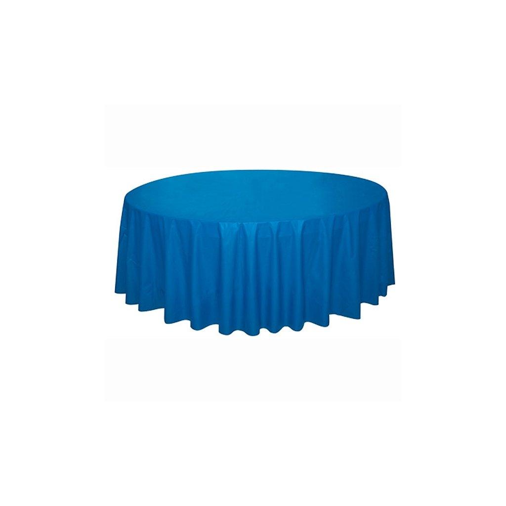 Ubrus plastový modrý pro kulatý stůl 210cm