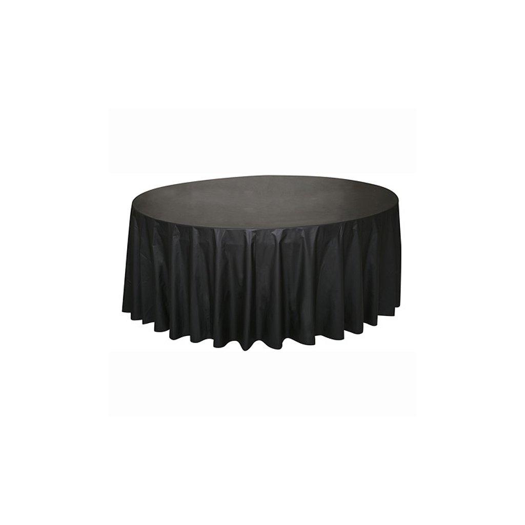 Ubrus plastový černý pro kulatý stůl 210cm