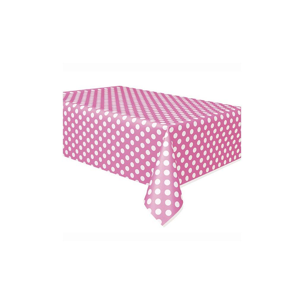 Ubrus plastový Hot Pink puntík pro obdélníkový stůl 137x274cm