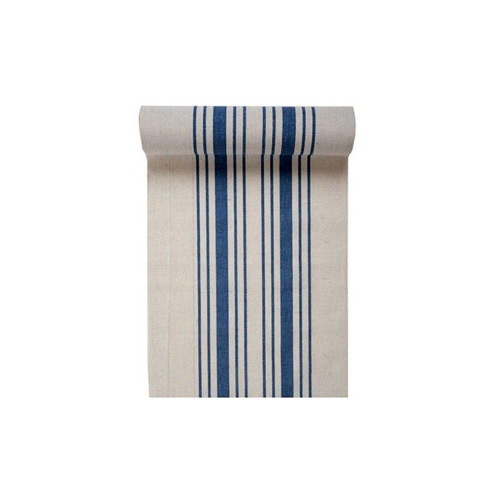 Šerpa na stůl plátno modré proužky 28cmx3m
