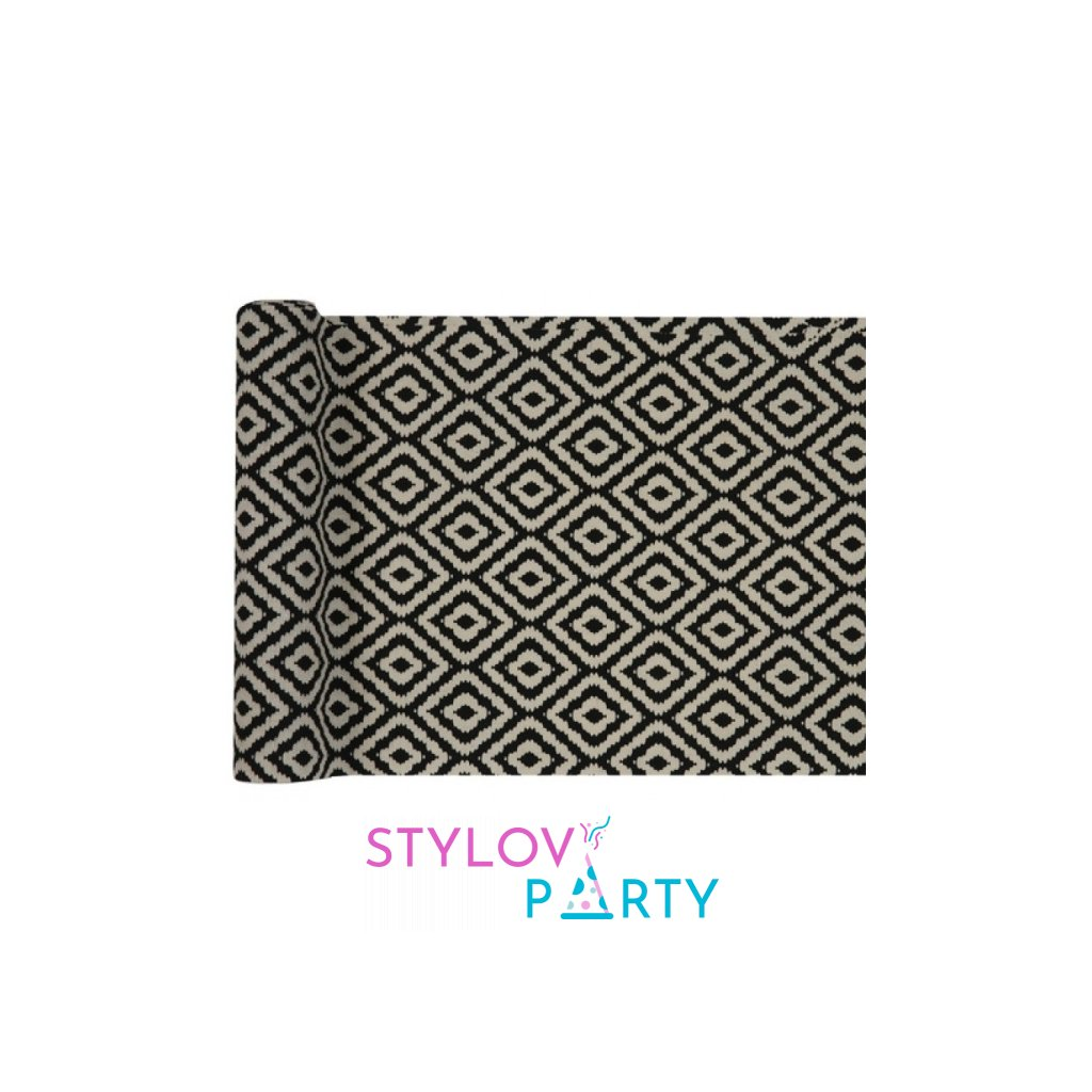 Šerpa na stůl se vzorem černo-bílá 28cmx3m