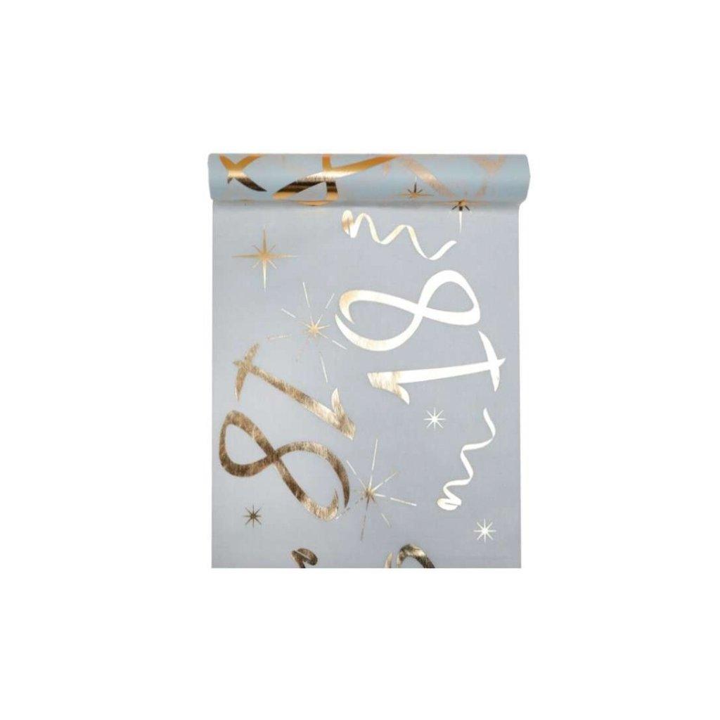 Šerpa na stůl bílá se zlatým potiskem 18. narozeniny 30cmx5m
