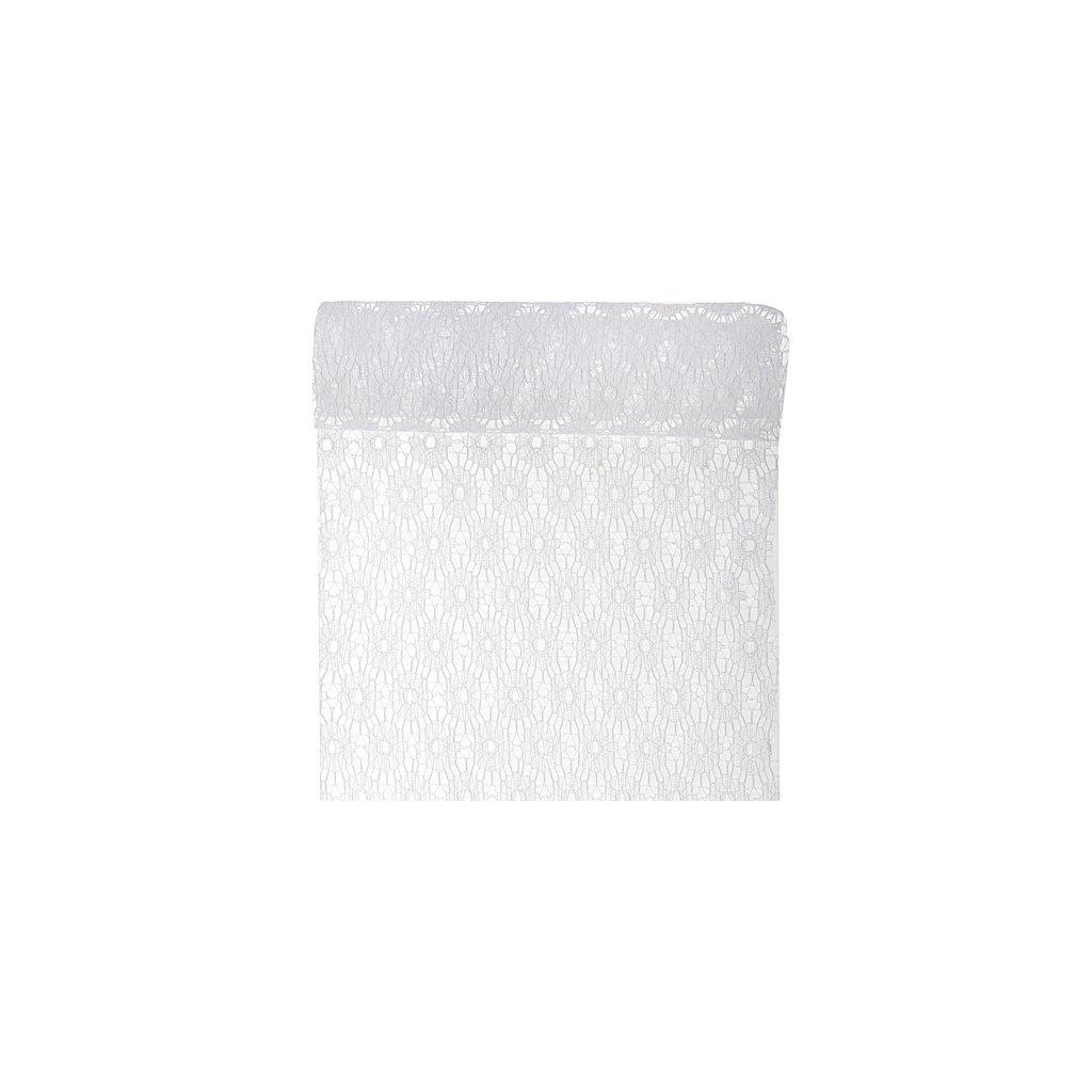 Šerpa na stůl krajková bílá květy 18cmx3m