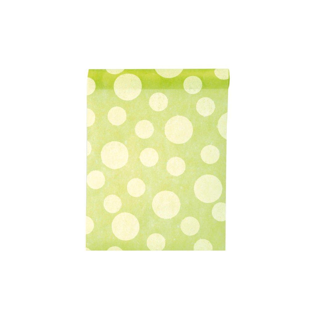 Šerpa na stůl z netkané textilie s puntíky zelená 30cmx5m