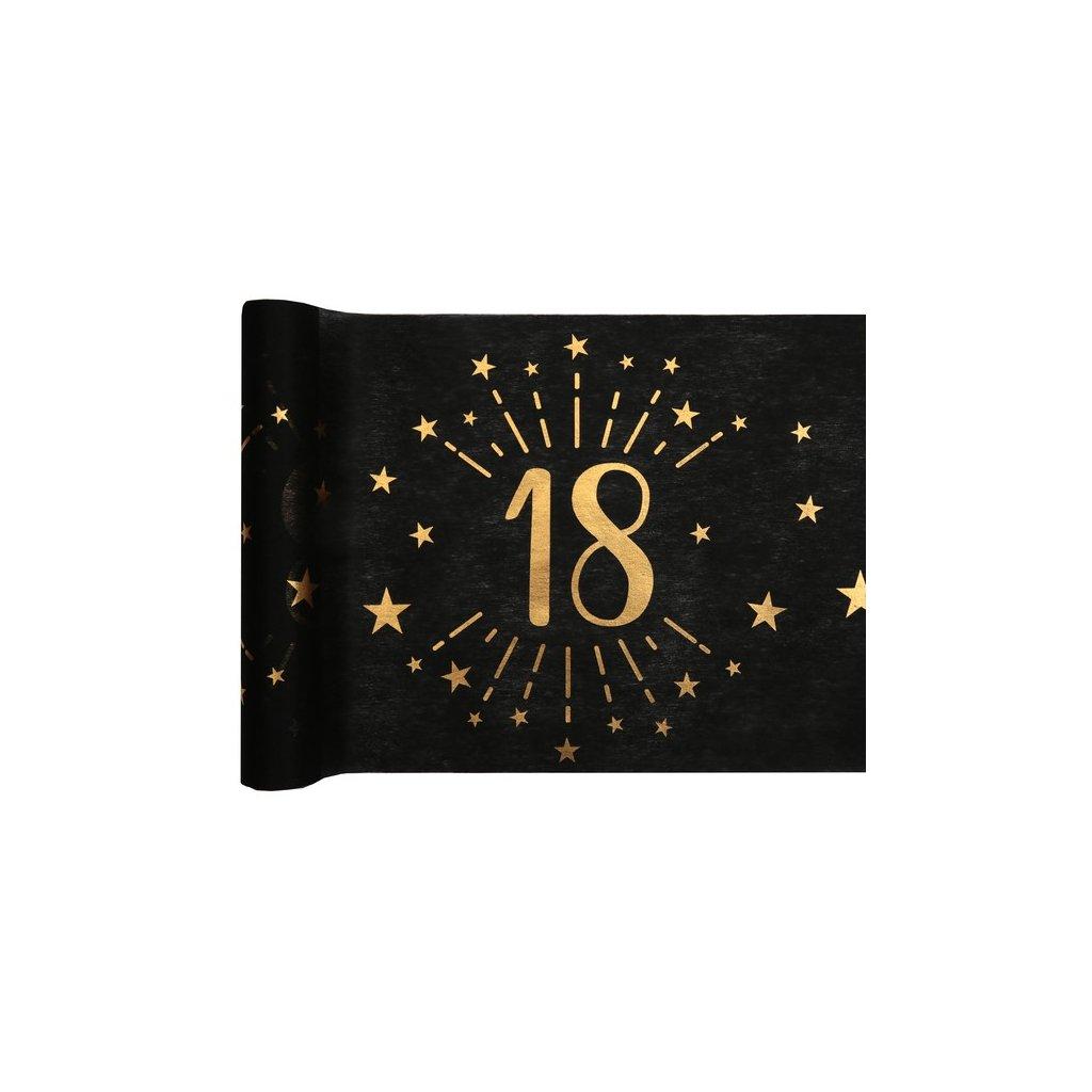 Šerpa na stůl černá se zlatým potiskem 18. narozeniny 30cmx5m