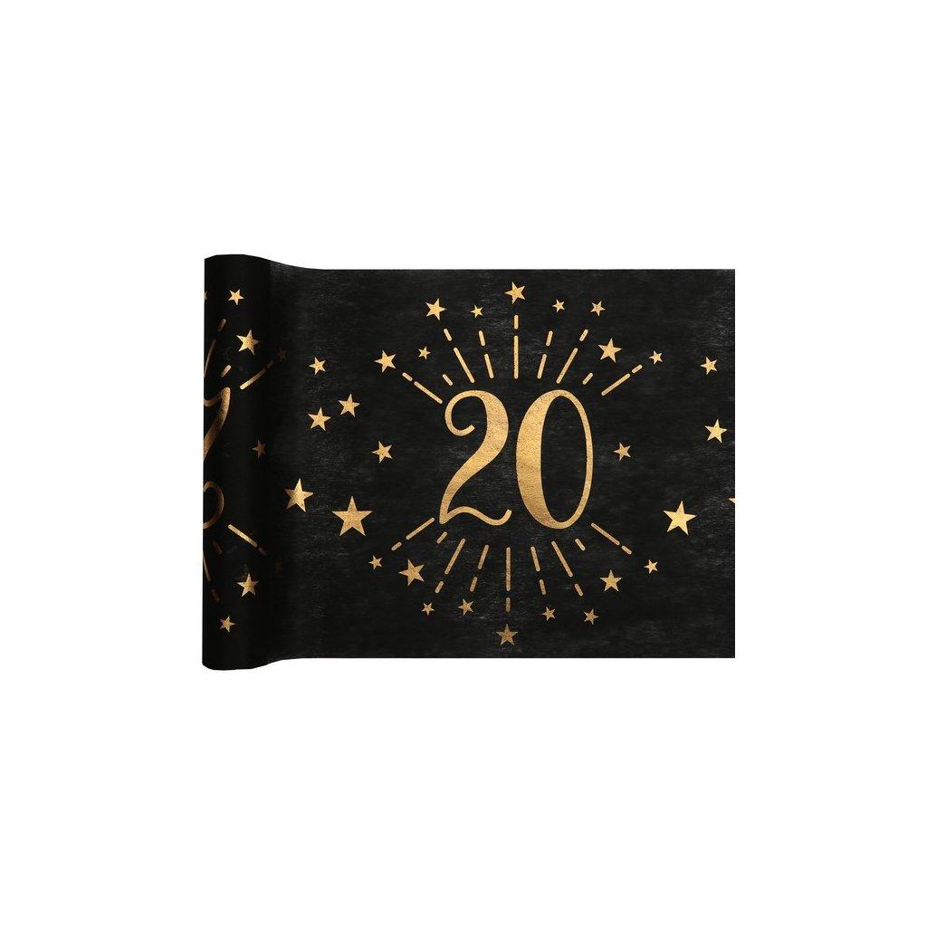 Šerpa na stůl černá se zlatým potiskem 20. narozeniny 30cmx5m