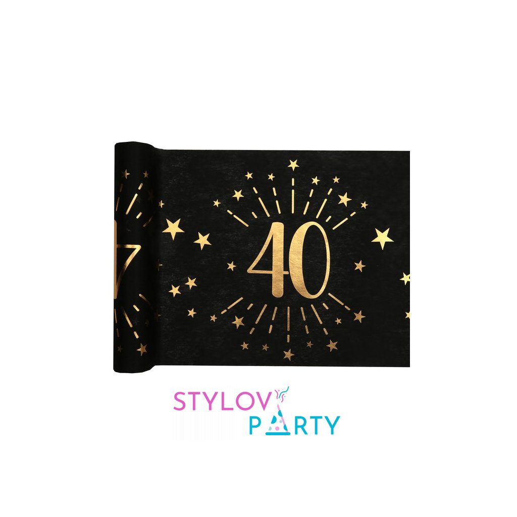 Šerpa na stůl černá se zlatým potiskem 40. narozeniny 30cmx5m