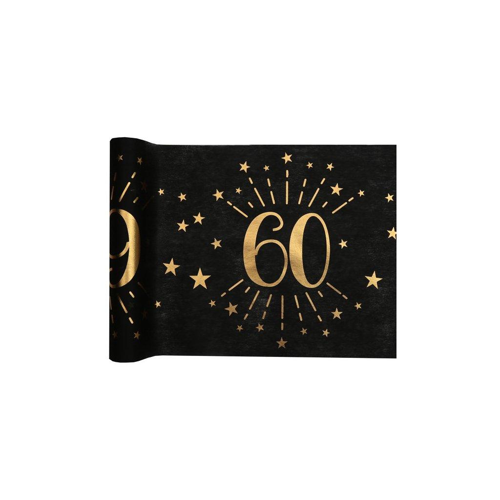 Šerpa na stůl černá se zlatým potiskem 60. narozeniny 30cmx5m