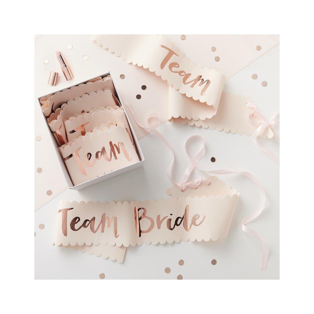 Šerpa růžová nápis z růžového zlata Team Bride 6ks
