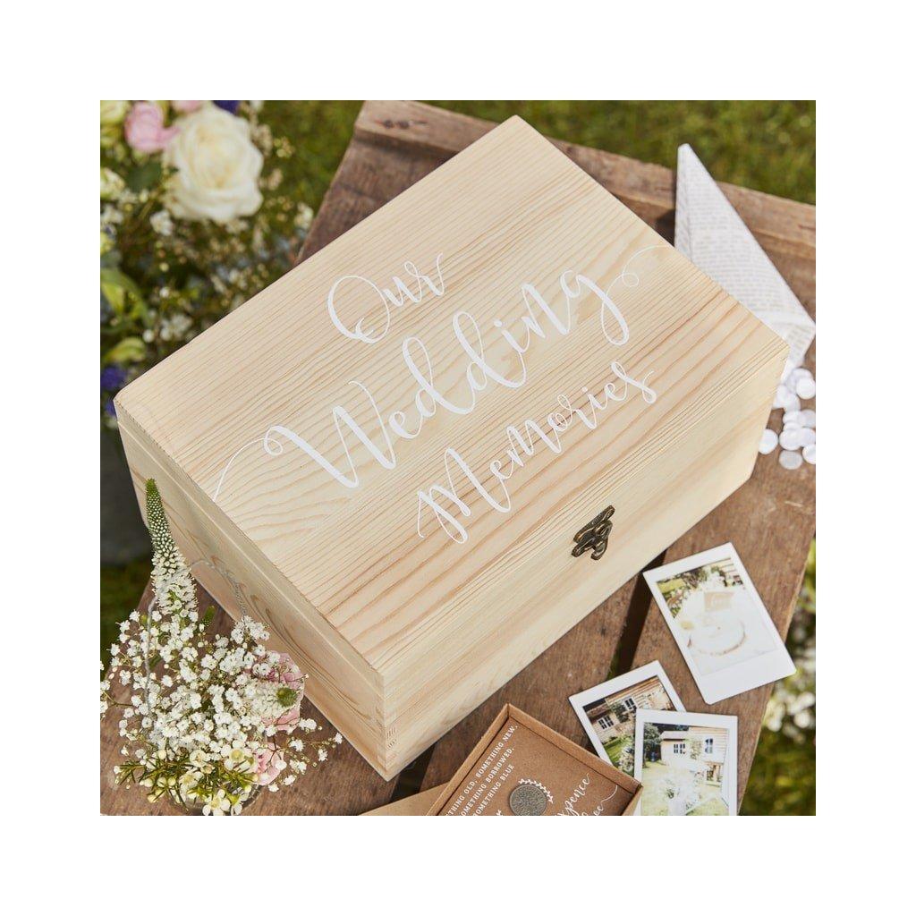 Krabička dřevěná na svatební vzpomínky 28x20,5x13,5cm