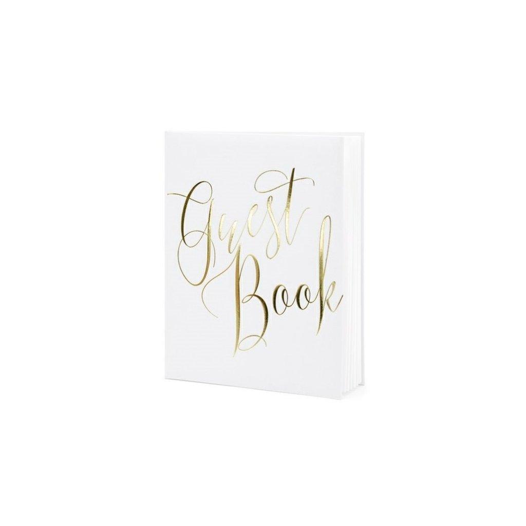 Svatební kniha bílá se zlatým nápisem guest book