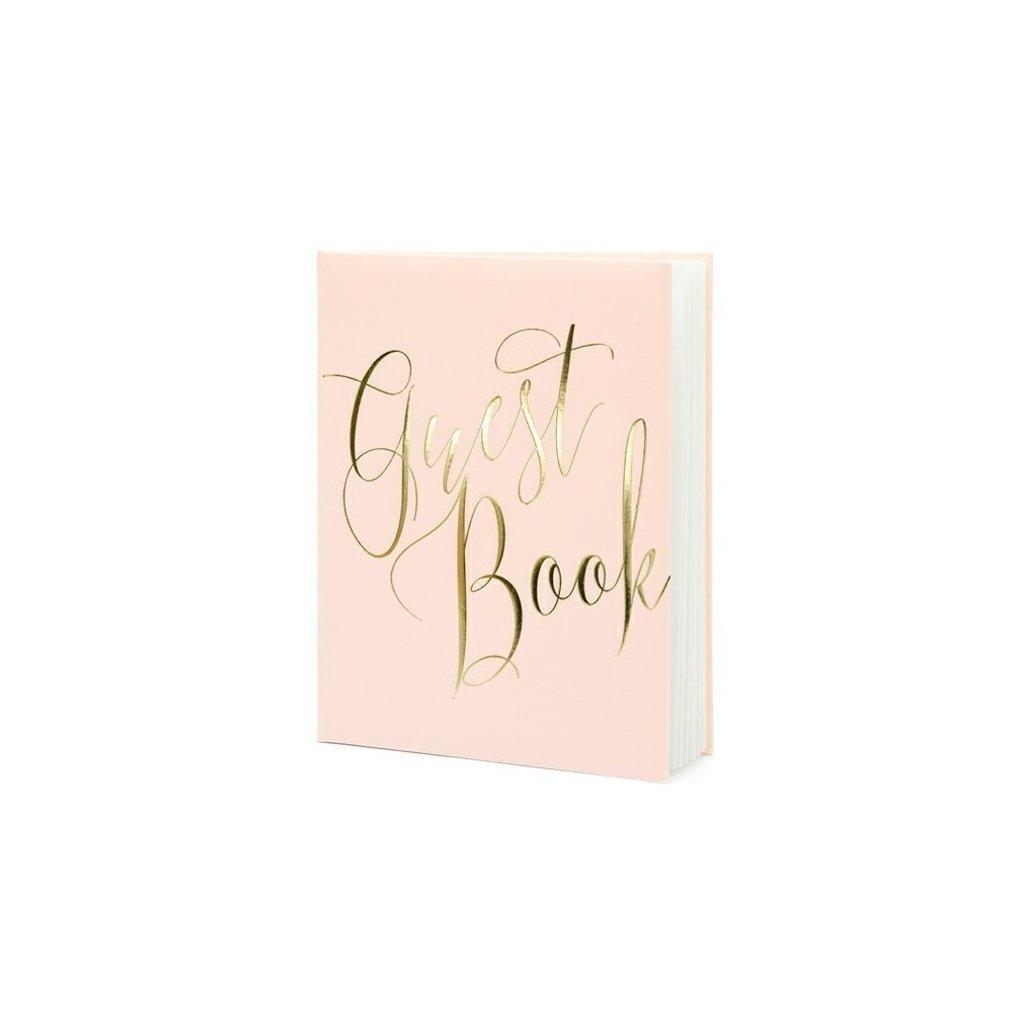 Svatební kniha s nápisem guest book růžová