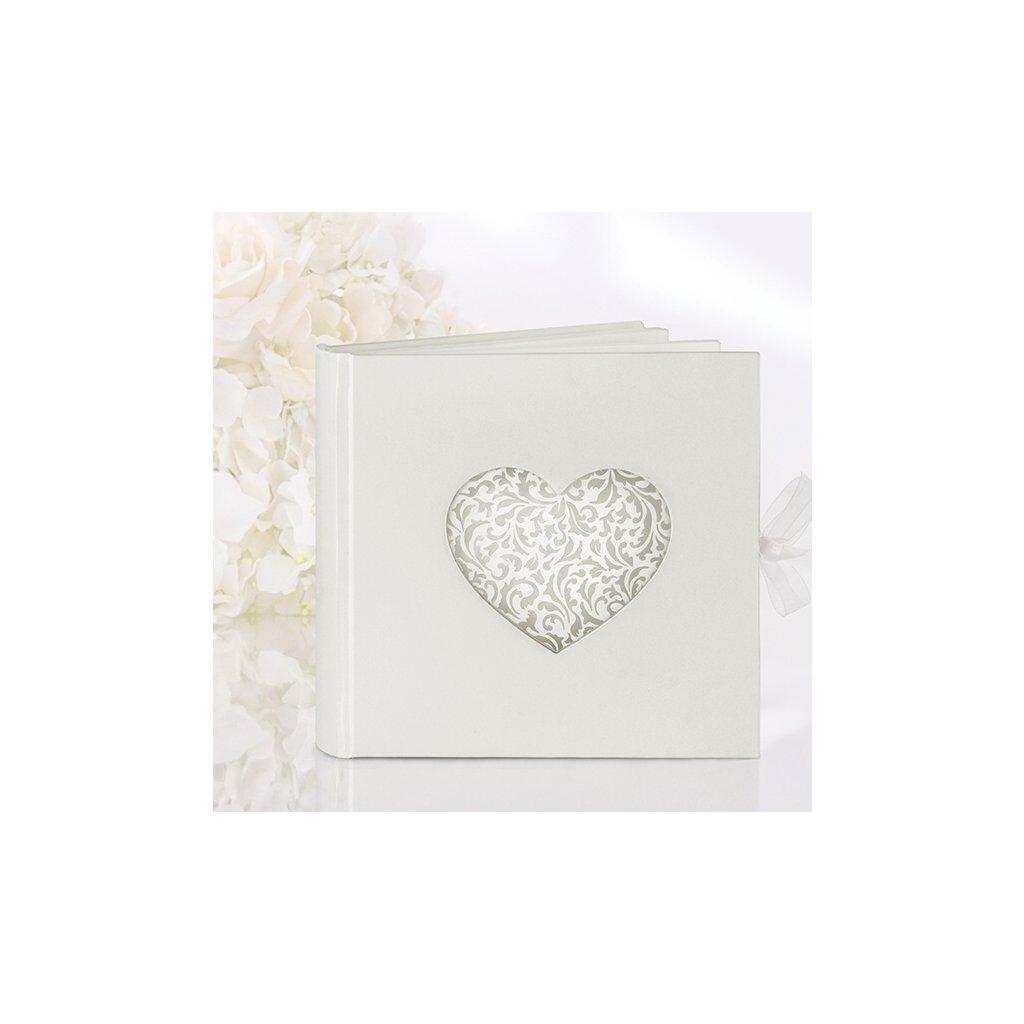 Svatební kniha krémová srdce