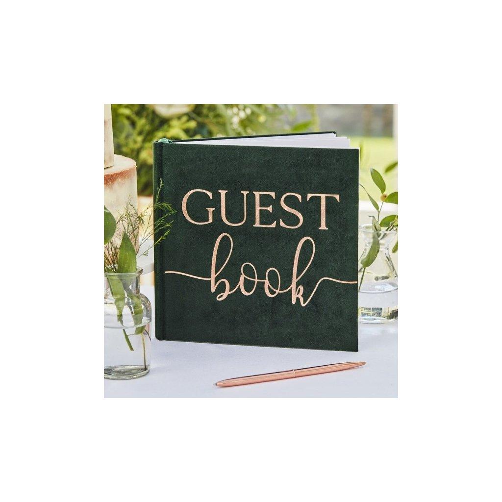 Svatební kniha hostů Zelený samet