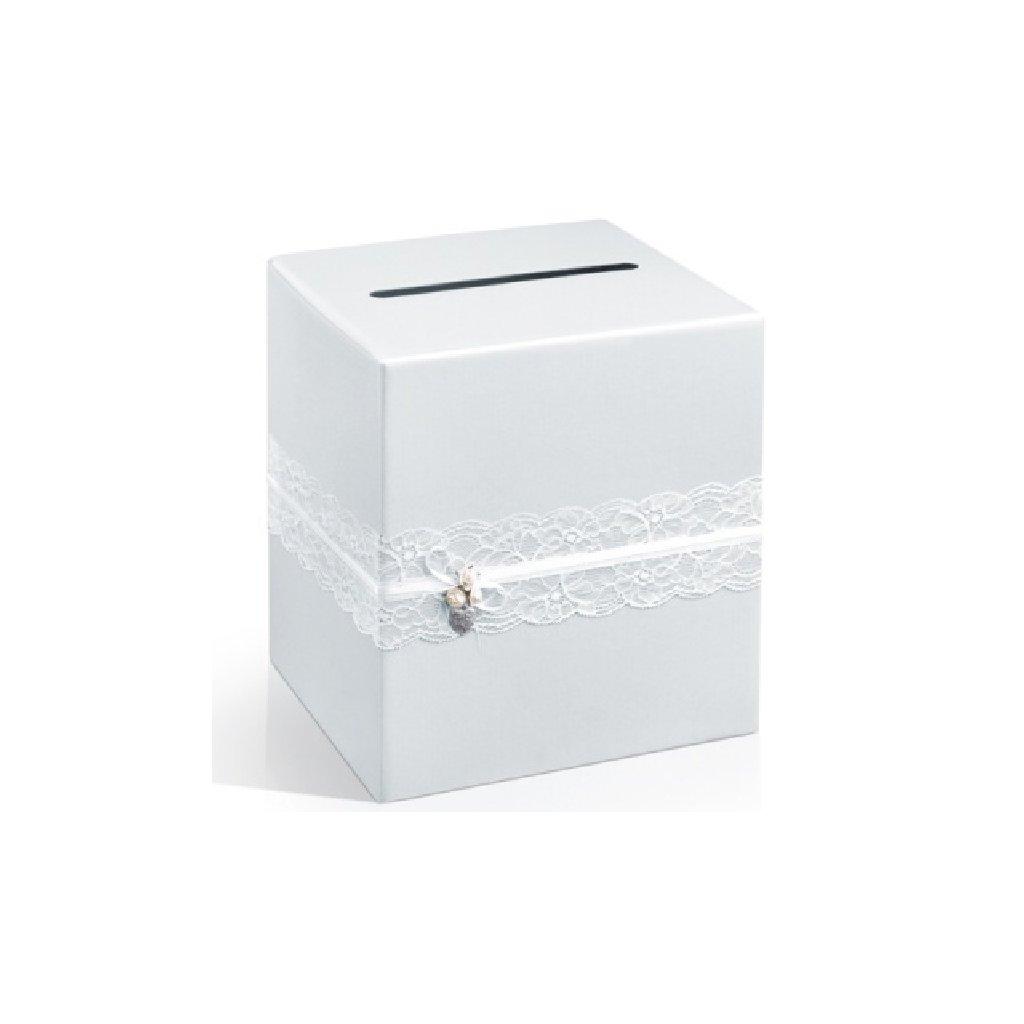 Box na přání bílý s krajkou