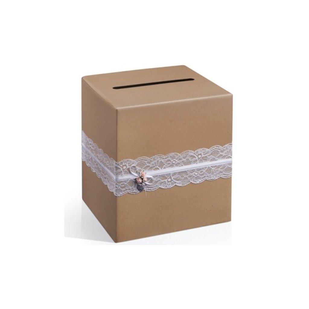 Box na přání přírodní s krajkou