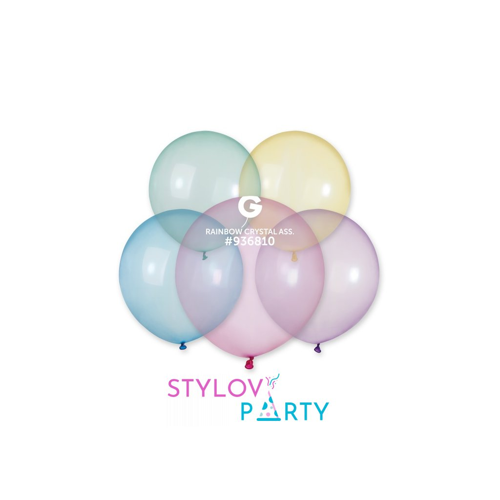 Balonek latexový krystalový barevný 48cm 1ks