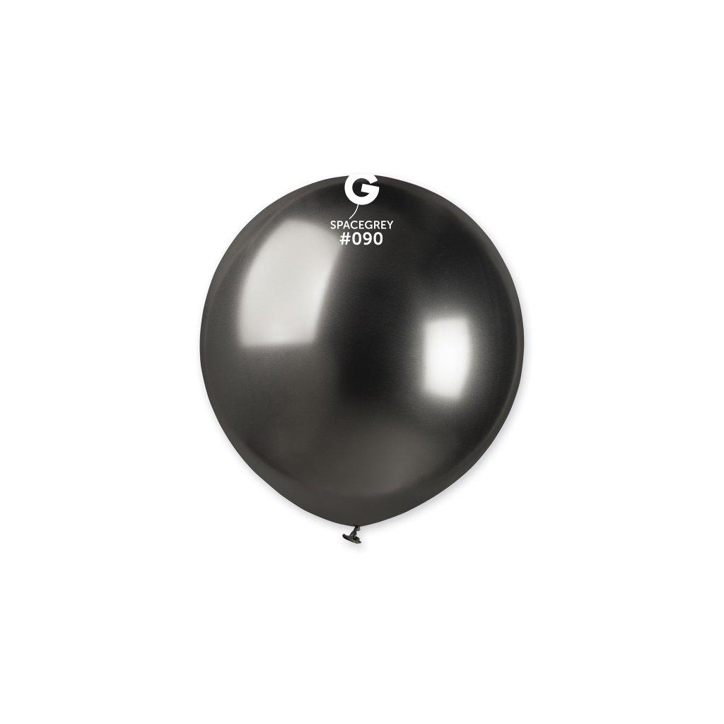 Balonek latexový chromový vesmírně šedý 48cm 1ks