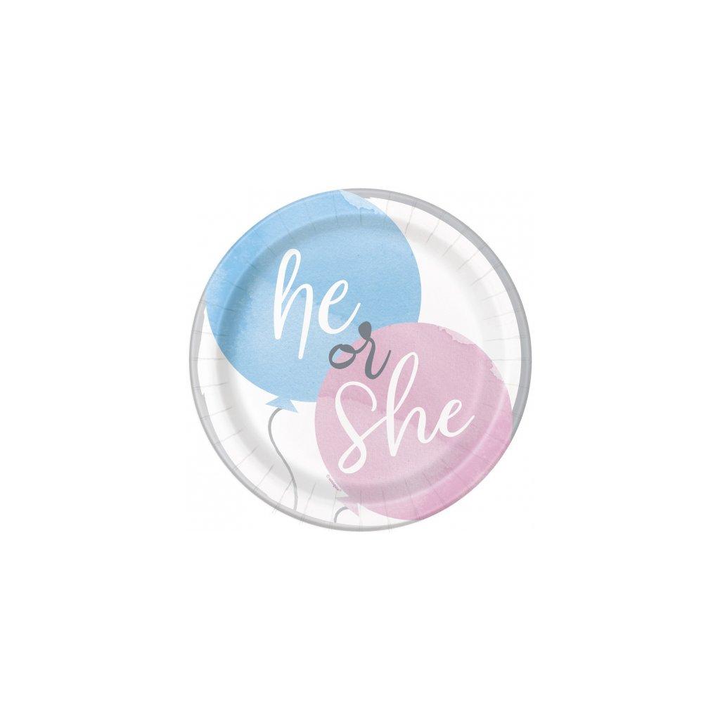 Talířky tematické na party  Gender Reveal 17cm 8ks