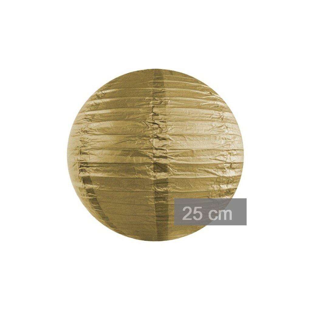 Lampion kulatý 25cm zlatý
