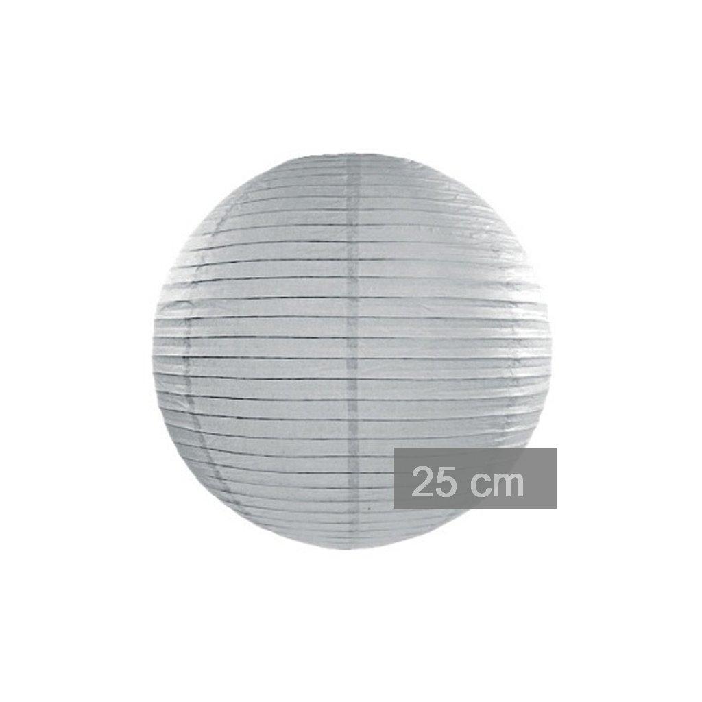 Lampion kulatý 25cm šedý