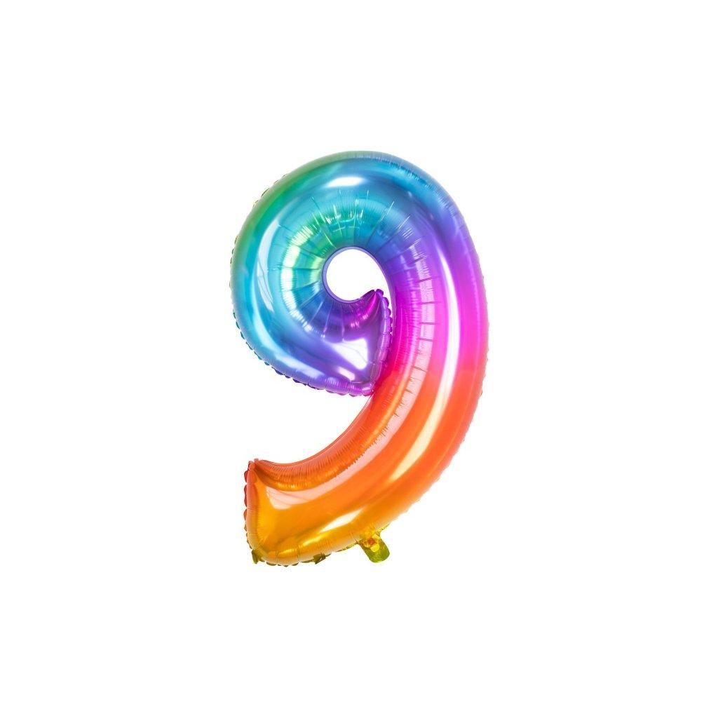 Balonek číslice  9  duhový  Rainbow folie 86cm