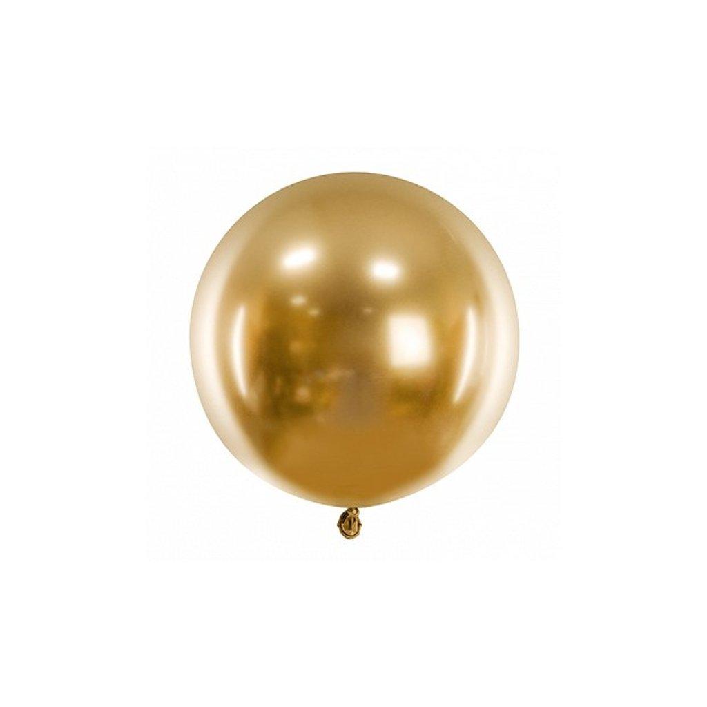 BALÓN latexový chromový zlatý 60cm 1ks