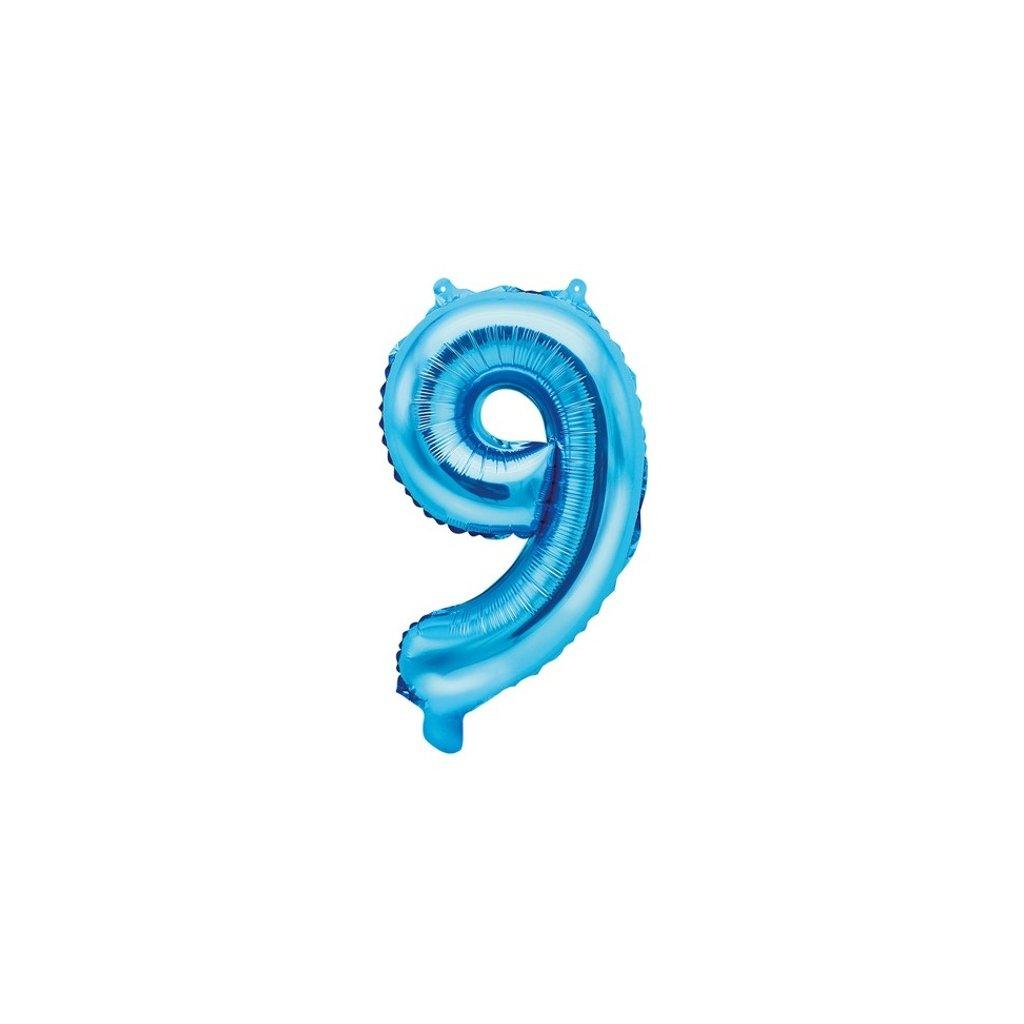 "BALÓNEK fóliový ""9"" modrá 35cm"