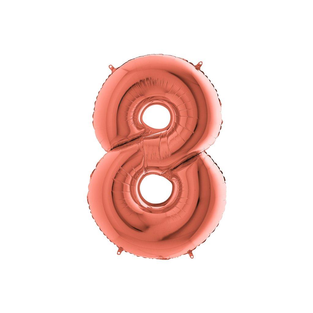 BALÓNEK FÓLIOVÝ číslo růžové zlato 8 105 cm